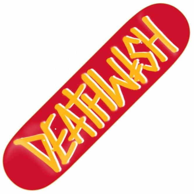 Deathwish Skateboards Deathspray Red/Gold Skateboard Deck 8.38''