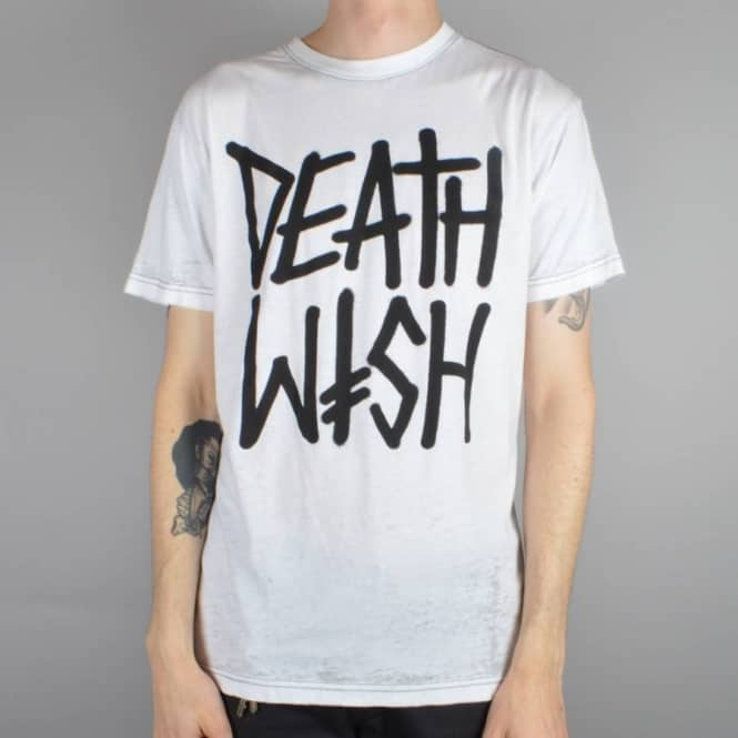Deathwish Skateboards Deathstack Burnout Skate T-shirt - White/Black Burnout