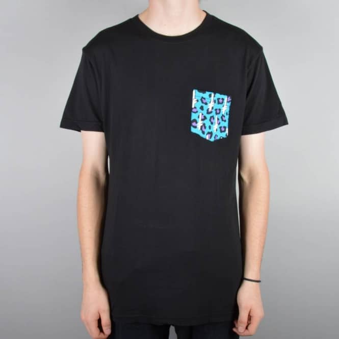 Deathwish Skateboards Gang Logo Pocket T-Shirt - Black/Teal/Cheetah