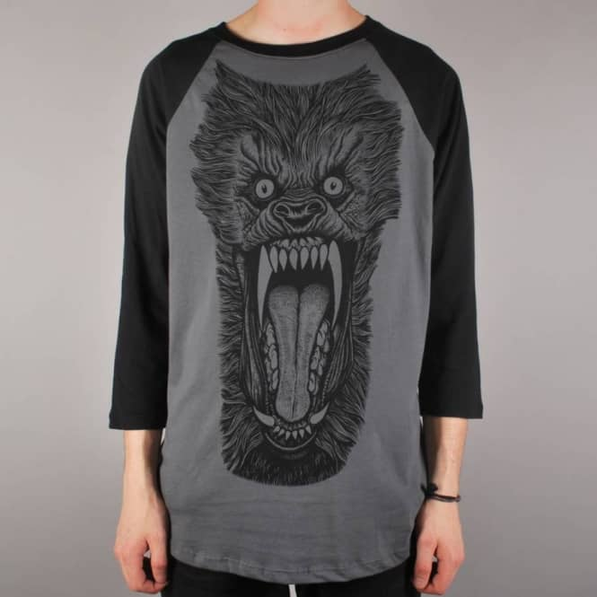 Deathwish Skateboards Wolf 3/4 Sleeve Raglan T-Shirt - Grey/Black