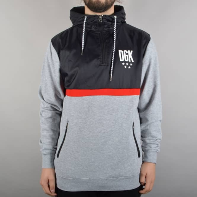 DGK Cross Over Hybrid Custom Pullover Hoodie - Black/Athletic Heather