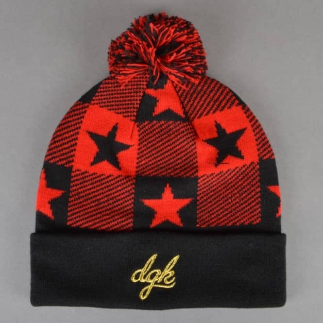 DGK Cutter Pom Pom Beanie - Black/Red