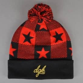 Cutter Pom Pom Beanie - Black/Red