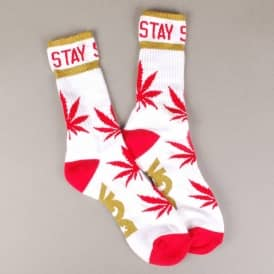 DGK Stay Smokin' Crew Socks - White/Red/Metallic Gold