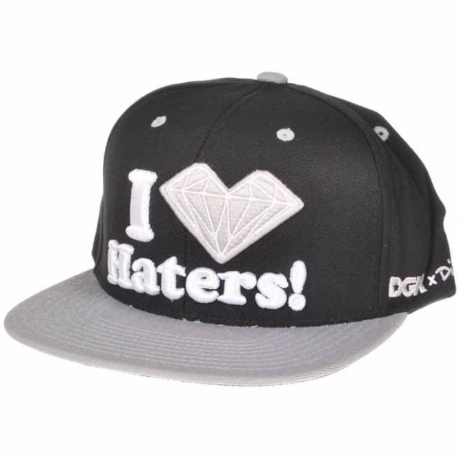 7b171b807511f DGK  Diamond Supply Co I Love Haters Snapback Cap - Black Grey ...