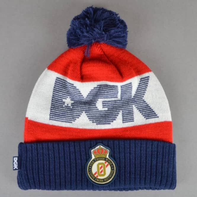 DGK Division Pom Pom Beanie - Navy Red Off White - SKATE CLOTHING ... 44360a446ba