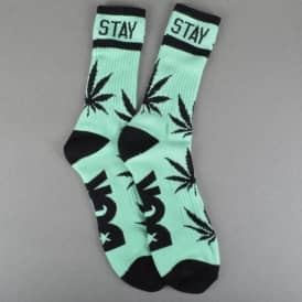 Stay Smokin' Crew Socks - Mint/Black