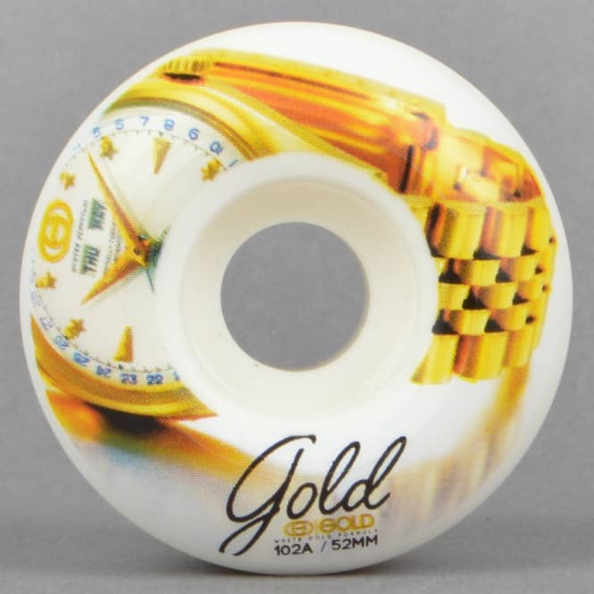 Gold Wheels Time Team White Gold Skateboard Wheels 52mm