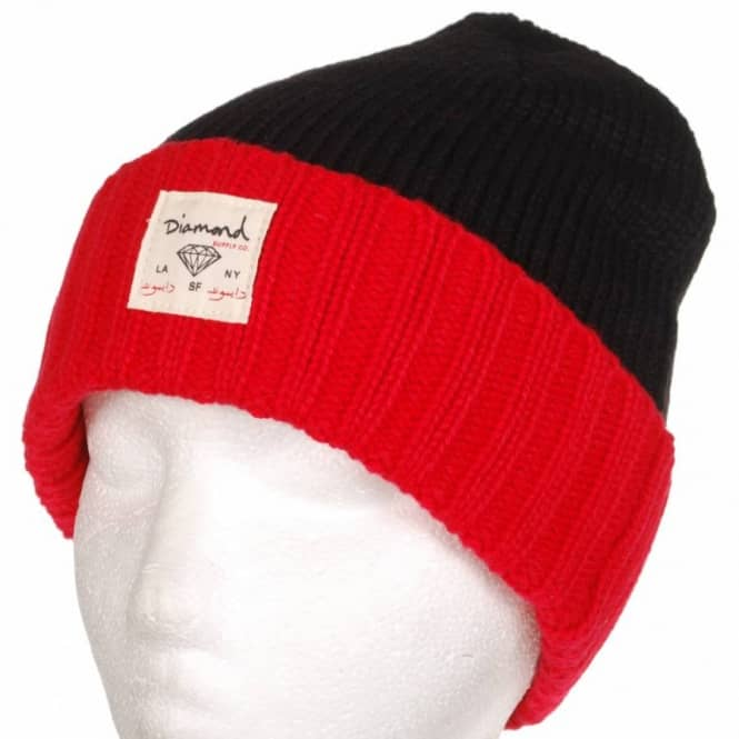 Diamond Supply Co. Diamond City Single Fold Beanie - Black/Red