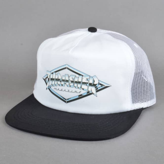 Thrasher Diamond Emblem Trucker Cap - White