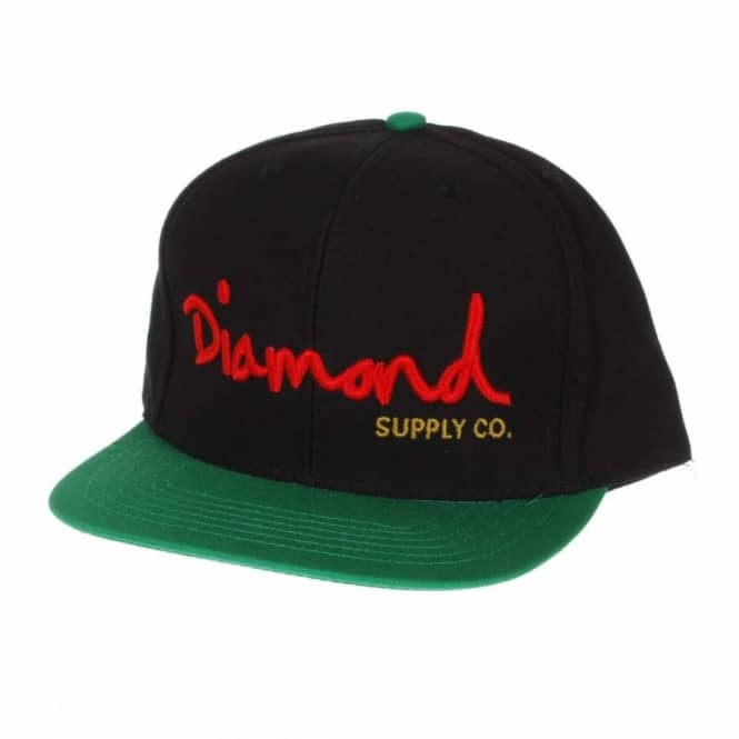 Diamond Supply Co. Diamond OG Logo Snapback Cap Black Green Red Gold ... 967a7131183