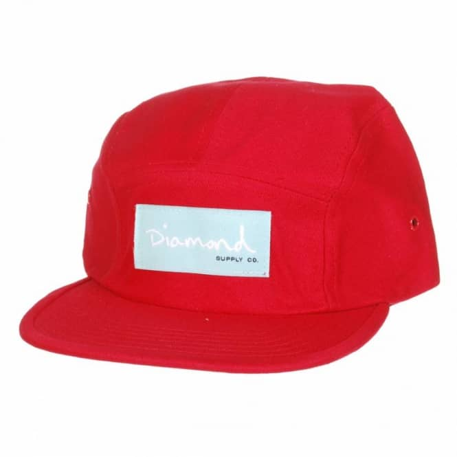 Diamond Supply Co. Diamond OG Script 5 Panel Cap - Red/Diamond Blue