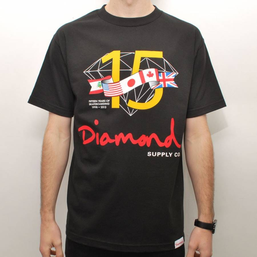 Diamond supply co diamond supply co 15 years skate t for Wholesale diamond supply co shirts