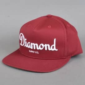 Diamond Supply Co Champagne Snapback Cap - Burgundy