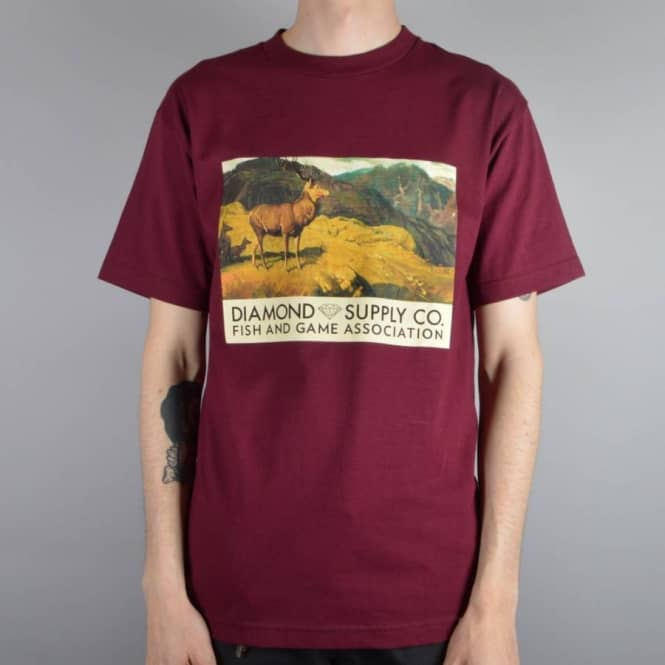 Diamond Supply Co Diamond Deer T-Shirt - Burgundy