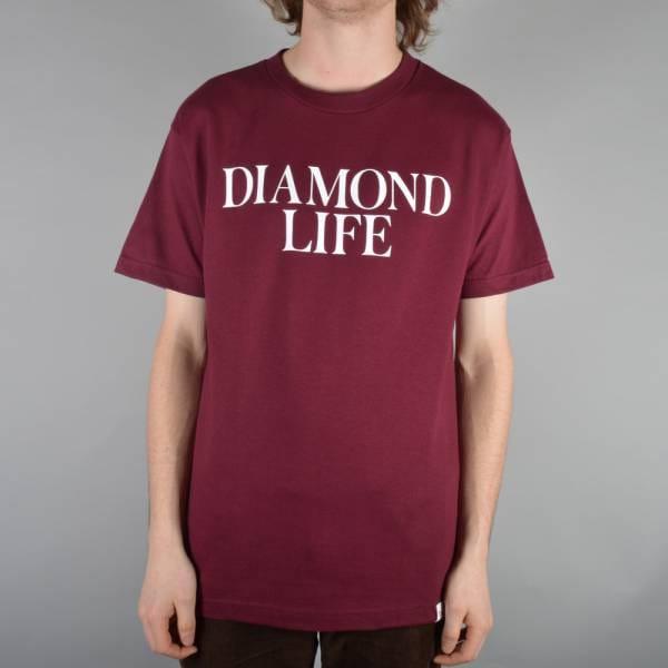 Diamond supply co diamond life skate t shirt burgundy for Wholesale diamond supply co shirts