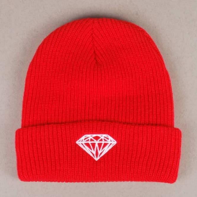 Diamond Supply Co. Diamond Supply Co Diamond Brilliant Fold Beanie - Red