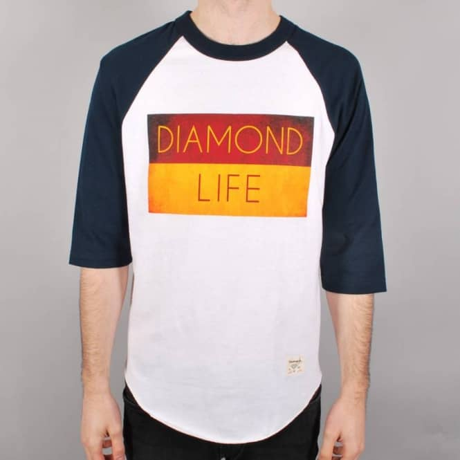 Diamond Supply Co. Diamond Supply Co. Diamond Life Flag Raglan T-Shirt - White/Navy