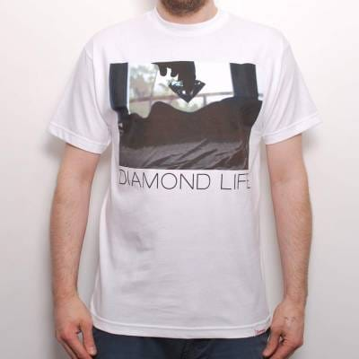 Diamond supply co diamond life girl skate t shirt white for Wholesale diamond supply co shirts
