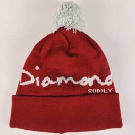 Diamond Supply Co. OG Script Pom Pom Beanie - Burgundy