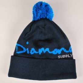 Diamond Supply Co. OG Script Pom Pom Beanie - Navy