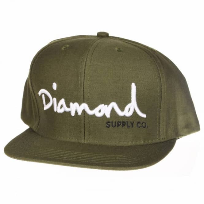 Diamond Supply Co Diamond Supply Co. OG Script Snapback Cap - Army Green/White/Black