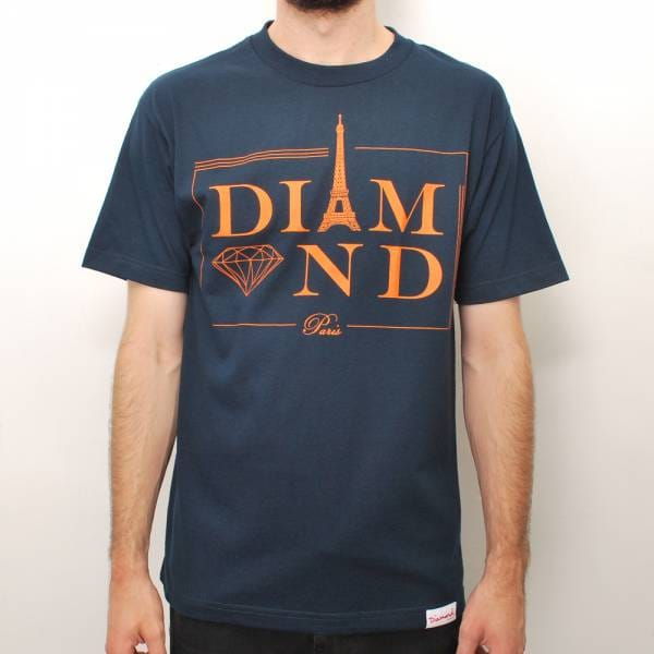 Diamond supply co paris skate t shirt navy skate t for Wholesale diamond supply co shirts