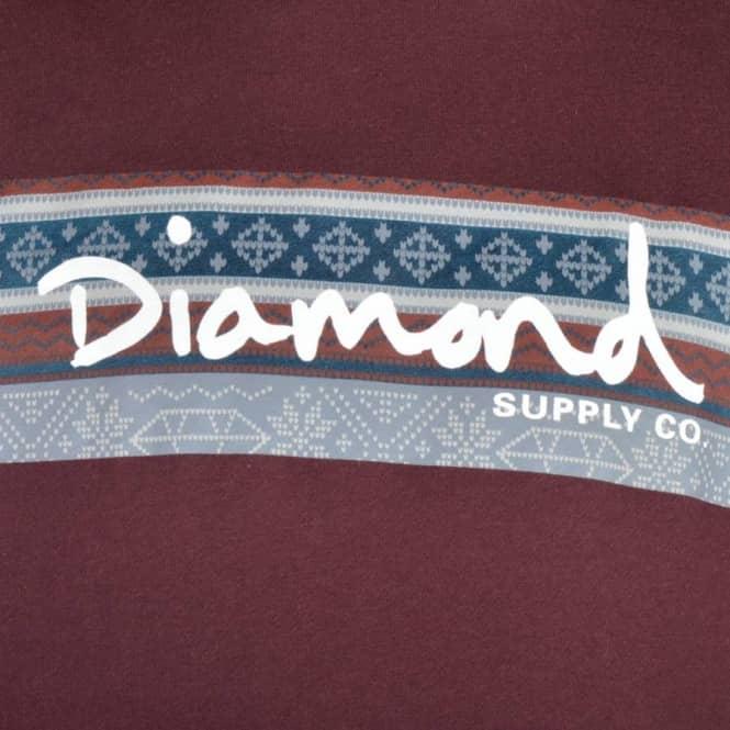 Diamond Supply Co. Fairisle Box Logo Pullover Hoodie - Burgundy ...