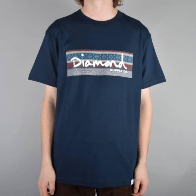 Diamond Supply Co. Fairisle Box Logo Skate T-Shirt - Navy - Skate ...