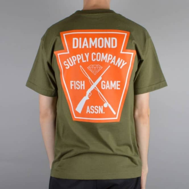 Diamond Supply Co Fish And Game Crest T-Shirt - Military Green