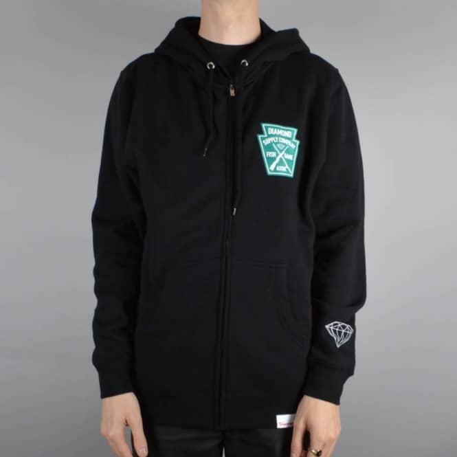 Diamond Supply Co. Fish And Game Crest Zip Hoodie - Black