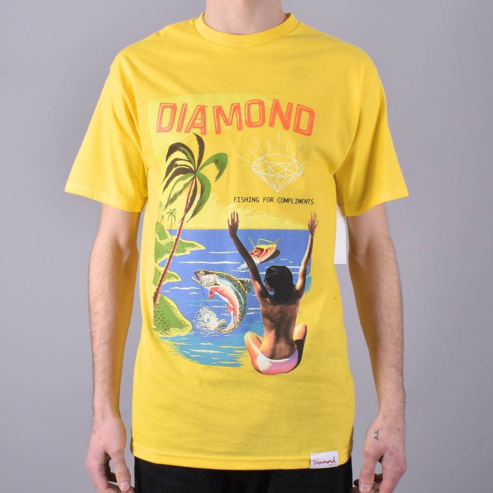 0ff56a70fea47 Diamond Supply Co. Fishing For Compliments Skate T-Shirt - Yellow ...
