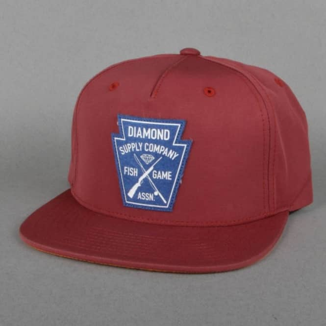 Diamond Supply Co. Game Crest Snapback Cap - Burgundy