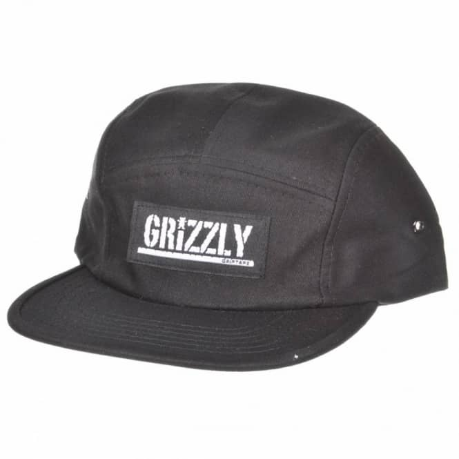 Grizzly Griptape Diamond Supply Co. Grizzly Stamp Logo 5 Panel Camp Cap -  Black - Caps from Native Skate Store UK 4ffc84ea2193