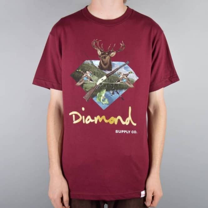 Diamond Supply Co Hunters Club Skate T-Shirt - Burgundy