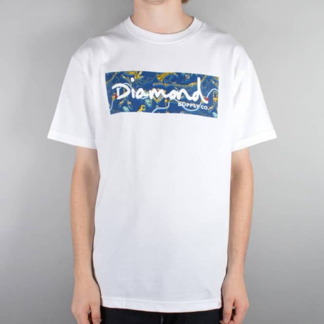 Diamond Supply Co. Low Life Box Logo Navy T-Shirt - White