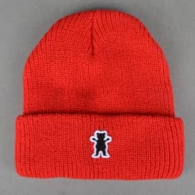 OG Bear Patch Fold Up Beanie - Red