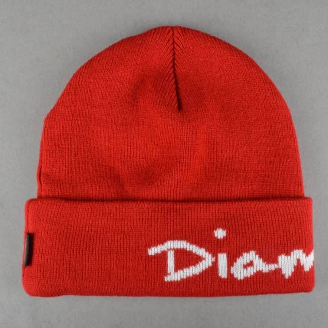 Diamond Supply Co. OG Script Fold Up Beanie - Red