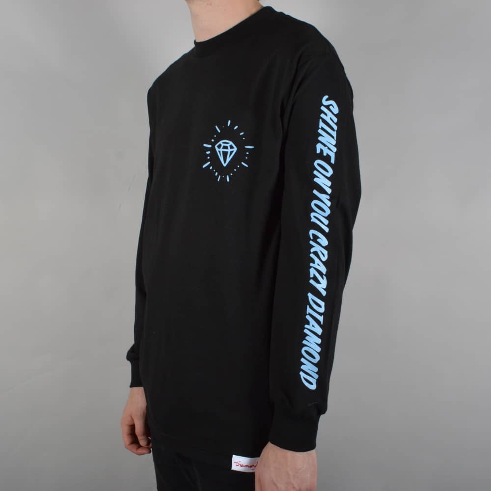 Long Sleeve T-Shirt With Spiral Sleeve Print in Black - Black Diamond Supply Company Supply d128DDLnid