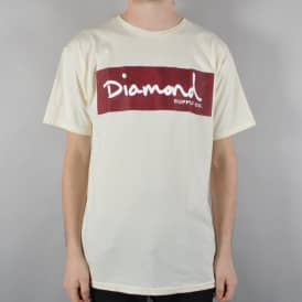 Diamond Supply Co Radiant Block Logo Skate T-Shirt - Cream