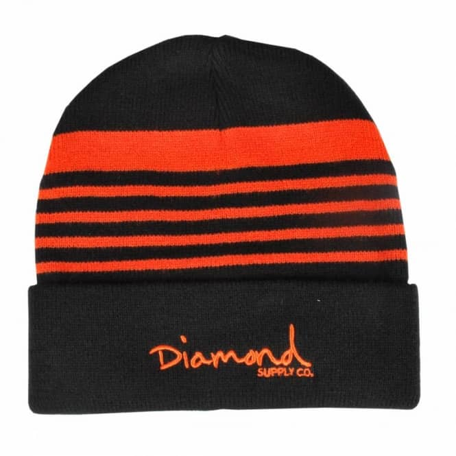 Diamond Supply Co Diamond Supply Co. Striped Fold Beanie - Black/Orange
