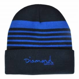 Diamond Supply Co. Striped Fold Beanie - Navy/Royal