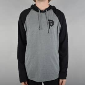Dirty P Raglan Lightweight Hooded Top - Heather Grey/Black