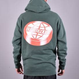 c128a4aed1f090 Disk Worldwide Logo Pullover Hood - Forest Green Back Print · Butter Goods  ...