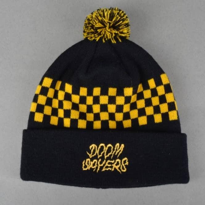 Doomsayers Club Checkers Pom Pom Beanie - Black Yellow - Beanies ... 73a0662b529