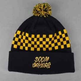 Checkers Pom Pom Beanie - Black/Yellow