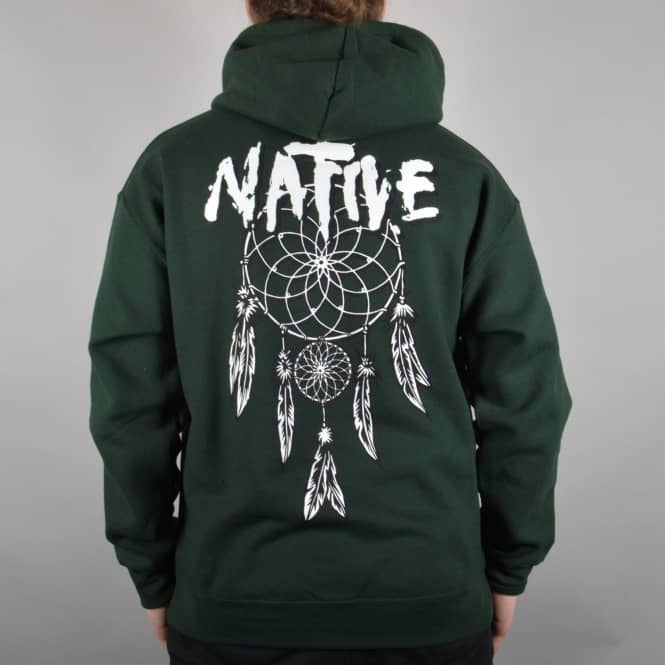Native Dreamcatcher Pullover Hoodie - Forest Green