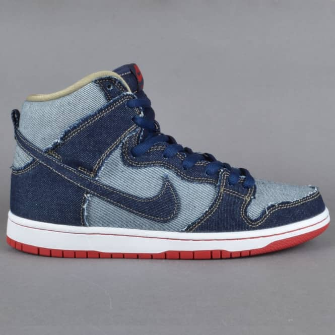 Nike SB Dunk Hi OG Reese Denim Skate Shoes - Midnight Navy
