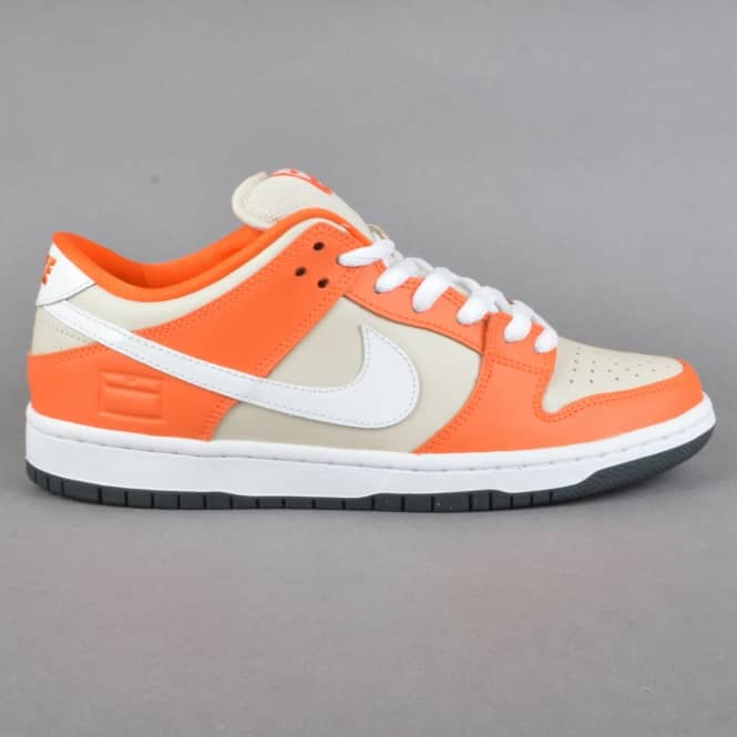 Nike SB Dunk Low Premium SB Skate Shoes - Safety Orange/White-Cream