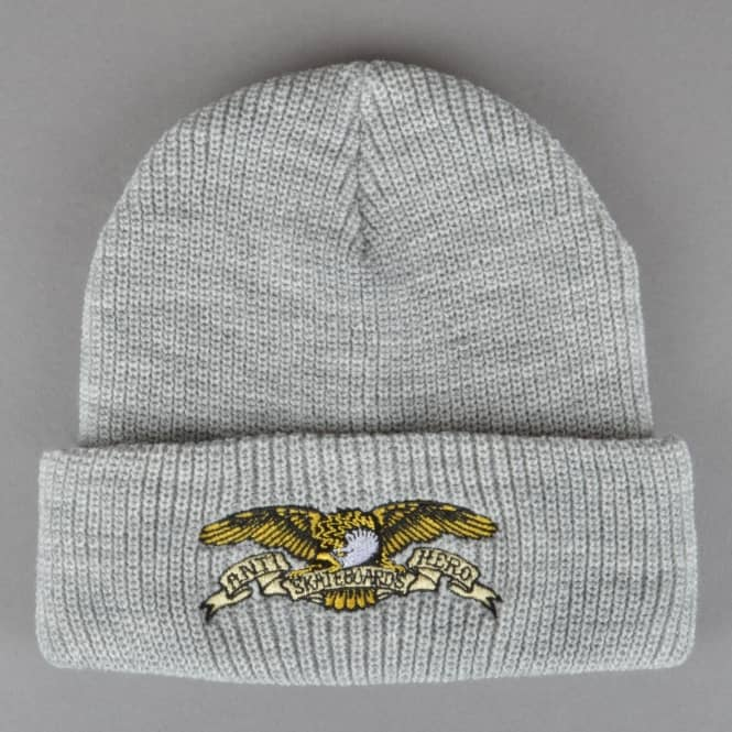 Antihero Skateboards Eagle Embroidered Cuff Beanie - Heather Grey